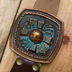 Belt Large Square metal patina & copper buckle